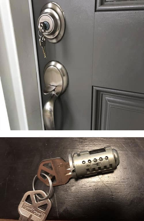 New residential deadbolt and matching door handle (top) and a lock cylinder that we rekeyed (bottom)